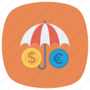 dollar, euro, lock, protection, safe, security, umbrella icon