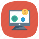 cash, coins, computer, currency, dollar, finance, screen icon