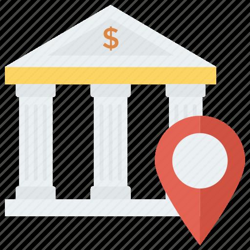 bank, location, map, money, navigation, pin icon
