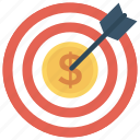 banking, business, cash, finance, money, target icon