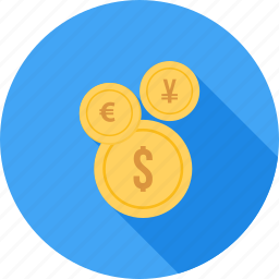 business, currency, dollar, euro, finance, pound, yen icon