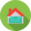 business, currency, dollars, home, loan, money, real estate icon