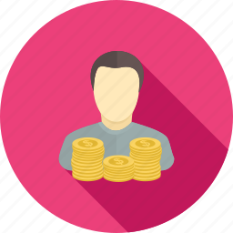 account holder, coin, man, money, person, savings, user icon