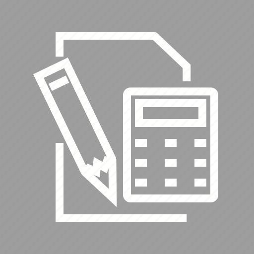business, calculation, calculator, mathematics, notepad, paper, pencil icon