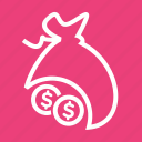 bag, business, cash, currency, dollar, money, money bag icon