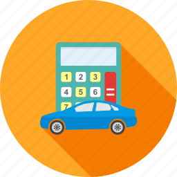 amount, calculation, calculator, car, finance, monetary, vehicle icon