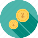 cash, coins, currencies, emolument, monetary resource, money, yen icon