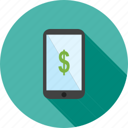 cash, currency, dollar, mobile, payment, smart, smart device icon