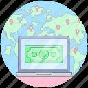 digital money, online banking, online money, online payment, online transaction icon