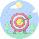 aim, bullseye, dartboard, financial goal, financial objective, financial target icon