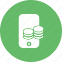 cell phone, coins, currency, mobile, money, smart phone icon
