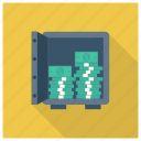 bank, currency, dollar, finance, money, safe icon