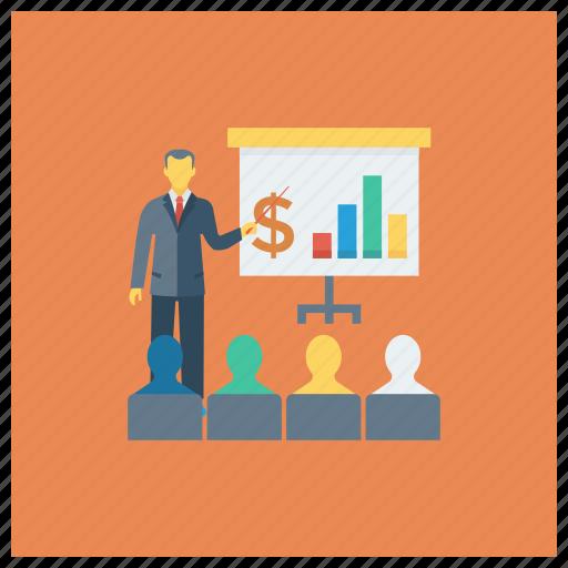 analytics, business, chart, graph, meeting, present, presentation icon
