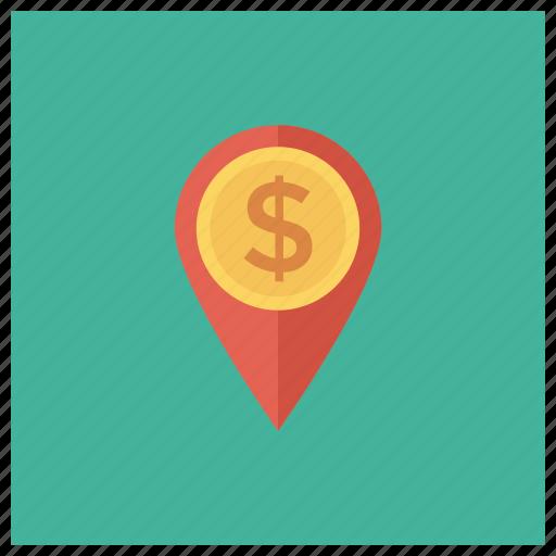 cash, coin, dollar, finance, location, map, money icon