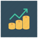 analytics, business, chart, coin, payment, report, statistics icon