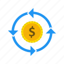 banking, currency, dollar, flow, money icon
