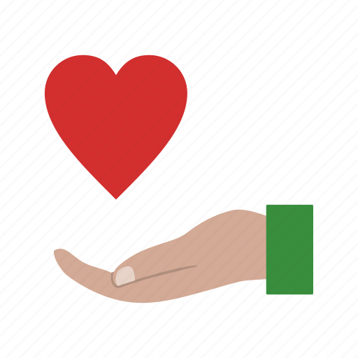 charity, heart on hand, voulnteer icon