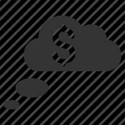 bubble, cloud dreams, clouds, dream, money, rich, richness icon