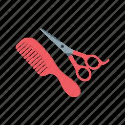barber, comb, cut, hair, scissors, stylist, trim icon
