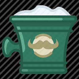 barber, cup, foam, shaving, soap, soaping, yumminky icon