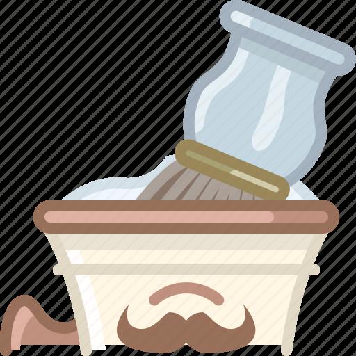 barber, brush, cup, foam, shaving, soap, yumminky icon