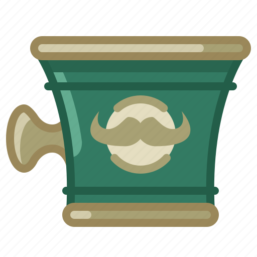barber, cup, shaving, shop, soap, soaping, yumminky icon
