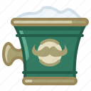 barber, cup, foam, shaving, soap, soaping icon