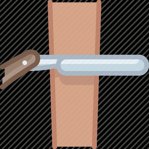 barber, blade, leather, razor, shaving, strap, yumminky icon