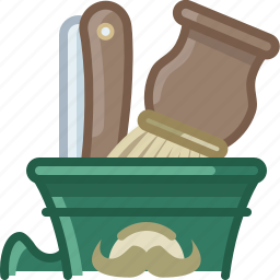 barber, blade, brush, cup, hipster, shaving, yumminky icon