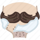 barber, foam, head, hipster, moustache, shaving icon
