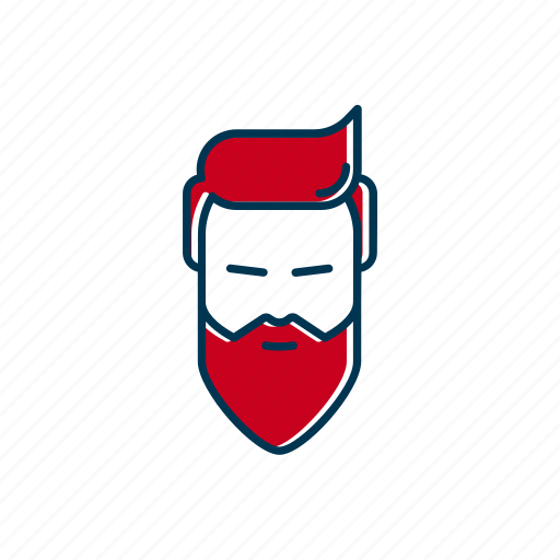barber, bearded, hipster, line, man, shop, thin icon
