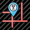 barber, shop, saloon, location, navigation, pin, place