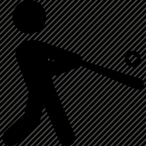 athlete, baseball, batter, hit, person, sports, swing icon
