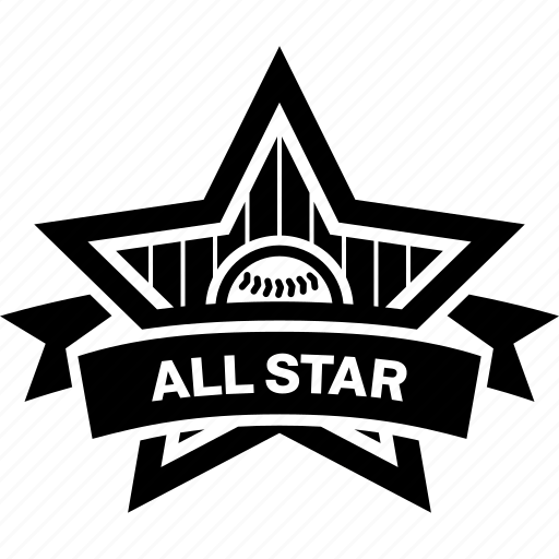 all star, badge, baseball, emblem, logo, ribbon icon