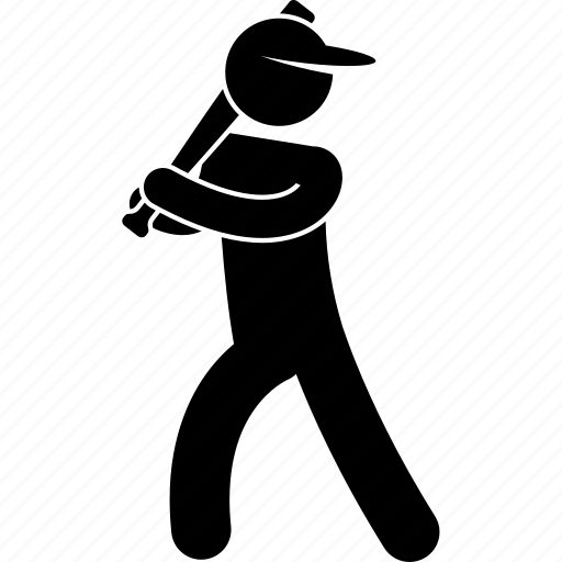 baseball, bat, player, pose, posture, ready, standing icon