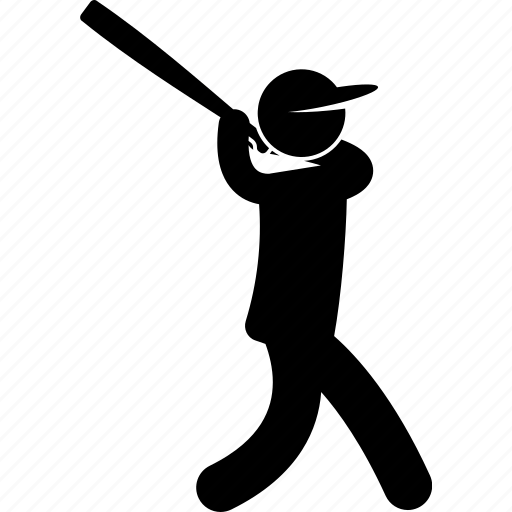 action, baseball, bat, player, pose, posture, swing icon