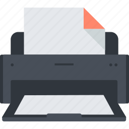 business, device, document, flat design, office, print, printer icon