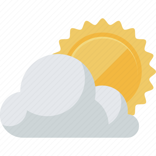 cloud, flat design, forecast, sun, weather, widget icon