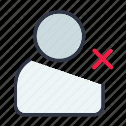 deactivate, delete, ignore, remove, user icon