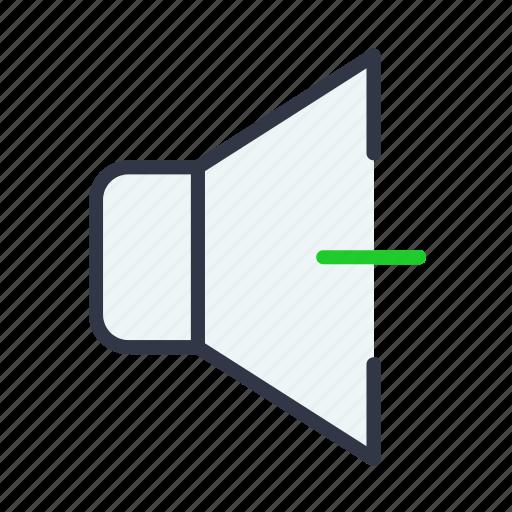 audio, decrease, down, speaker, volume icon