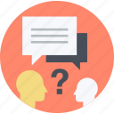 answer, faq, flat design, help, questuin, round, support icon