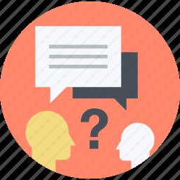 answer, faq, flat design, help, questuin, round, support icon
