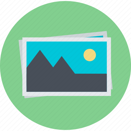 Art, flat design, gallery, images, photo, portfolio, round ... Gallery Icon Flat