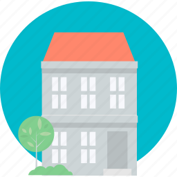 building, flat design, home, house, real estate, round, web icon