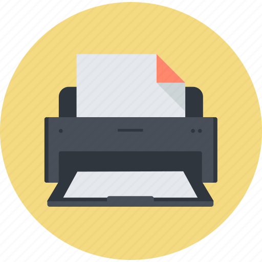 business, electronic devices, office, print, printer, round icon