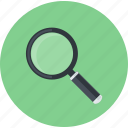 browse, business, flat design, round, search, tool icon