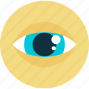 business, control, eye, flat design, round, supervision, vision icon