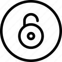 circle, http, lock, not, safe, security, unlock icon