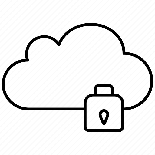 cloud, clouds, cloudy, lock, server, weather icon