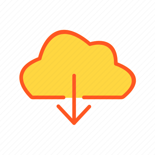 cloud, direction, down icon